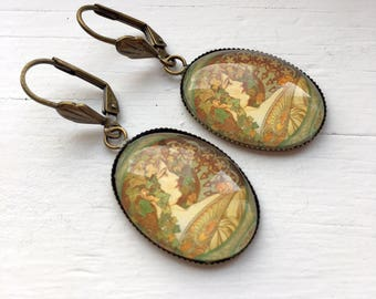 Vintage French Poster Resin Pendant Earrings