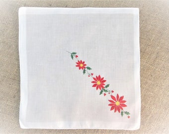 Vintage Christmas Handkerchief ~ Embroidered Hanky ~ Red Green White Embroidery ~ Poinsettia