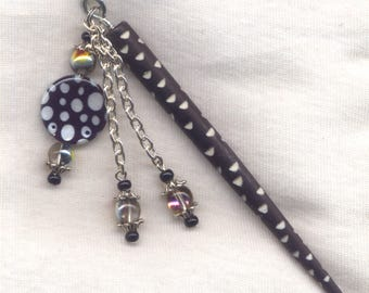 Polka Dot Coin Black Bone Shawl Pin Mother of Pearl Medallion 4 1/2 inch HS018