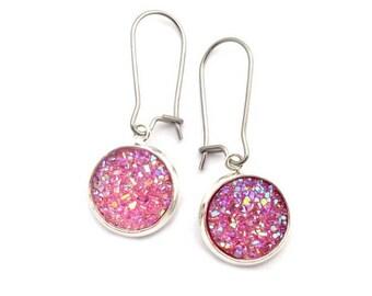 Pretty Pink Faux Druzy Earrings Stainless Steel Kidney Earwires
