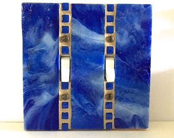 Decorative Switch Plate, Stained Glass Light Switch Cover, Cobalt Blue Glass, Royal Blue, Lightswitch Plate, Wall Switch Plate, 8861