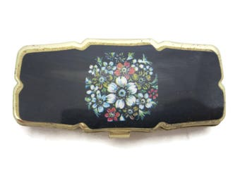 Pill Box - Three Sectioned Floral Design Black Pill Case