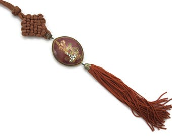 Cloisonne Necklace Pendant - Puffy Tassel Necklace Flower Still Life Asian Jewelry
