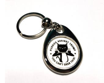 Pussies Against Trump Oval Metal Keychain
