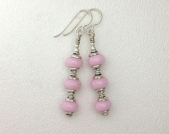 Summer Sale Lamp Work Glass Earrings Light Pink Glass and Sterling Silver