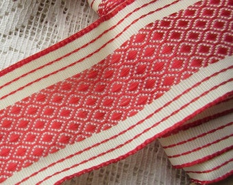 Czech Republic 5 Yards Wired Jacquard 1-5/8 Inch Wide Ribbon Trim Red And Ivory  RV 130