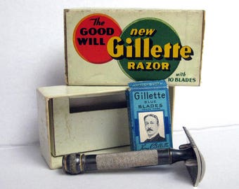 Vintage The Good Will New Gillette Razor vintage shaving set razor blades and original box circa 1930s shaving