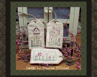 SpringTag Collection-Primitive Stitchery-E-PATTERN by Primitive Stitches-Instant Download