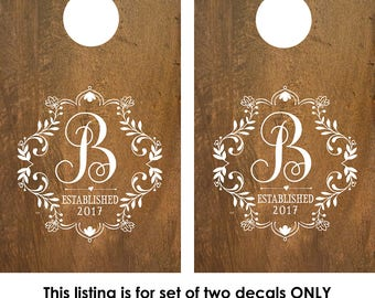 Cornhole Decal | Corn Hole Decal | Monogram Decal | Corn Hole Board | Corn hole decal wedding | Custom Cornhole boards | Rustic Wedding