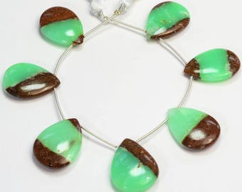 Natural Matrix Chrysoprase Smooth Pear Briolette Beads (7)