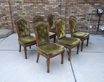 6 HOLLYWOOD REGENCY tufted green velvet dining chairs