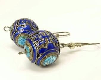 Antique Chinese Sterling Silver & Enamel Earrings