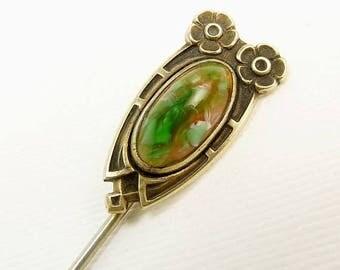 Art Nouveau Gold Filled Stick Pin Green & Orange Mottled Glass