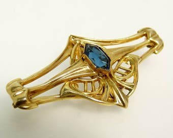 Art Nouveau Gold Filled Brooch Blue Rhinestone Shield Brooch