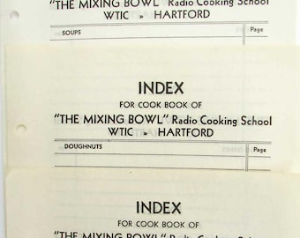 Vintage Paper Ephemera, Journal Papers, Smash Book Supply, 1930's  Mixing Bowl Radio Cooking School, Hartford CT Index Pages, Memo Pages