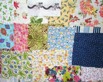 Vintage Fabrics Scraps, Lot of Vintage Cotton and Feed Sack Fabric Scraps for Quilting, Small Projects,  Creative Use, 1930's-50's