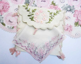 Vintage PInk and White Linens Group, Doilies, Hanky, Embroidered Lingerie, Hanky Bag, 4 Items, 1940's Vintage