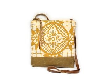 weekdayer • crossbody bag - geometric floral print • mustard yellow geometric floral print - waxed canvas - screenprint - iPad bag - travel
