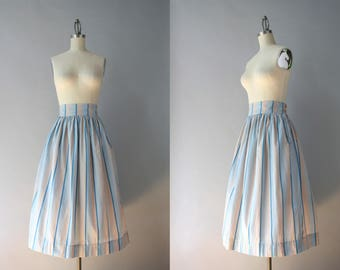 1940s Skirt / Vintage 40s Full Cotton Skirt / 40s 50s Ombré Striped Skirt in Blue and Gray L large