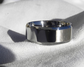 Titanium Ring or Wedding Band, 8mm, Polished, Size 9.5, Clearance Listing