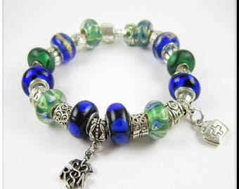 RN Nurse Charm European Bracelet Murano Lampwork Glass Beads Blues and Greens Large Hole Beads Tibetan Silver