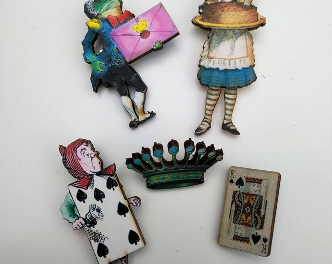 5 x Alice in Wonderland Wooden Brooches - Alice, Royal Page, Frog Footman (Set 3)