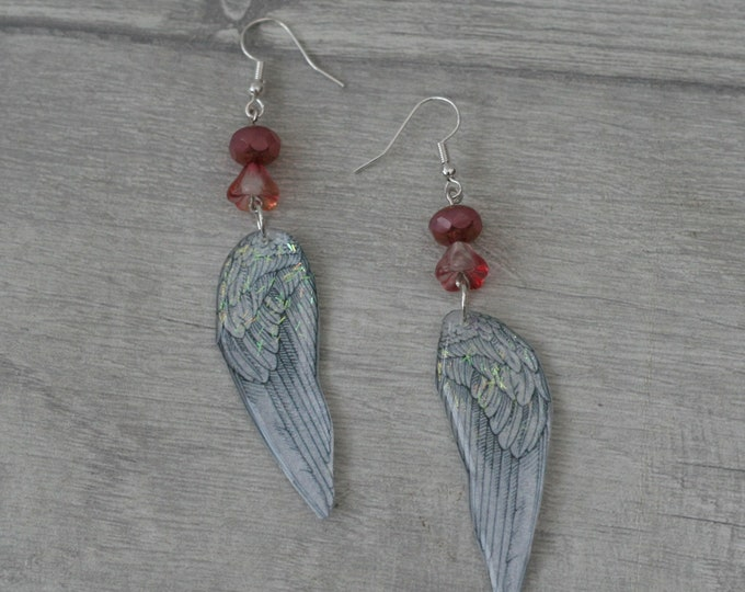Angel/Fairy Wing Earrings, Wing Illustration, Dangle Earrings, Pink Jewelry