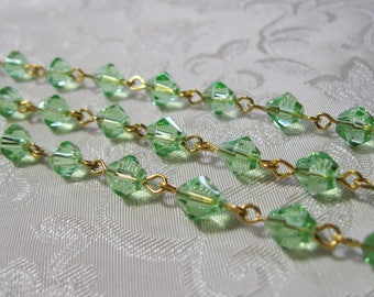 "One Meter 39.5"" Faceted Peridot Green Bicone Glass 6mm Beaded Rosary Chain Gold 982"