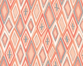 Midnight Garden Fabric // Coral Diamonds Quilting Fabric  // 1canoe2 // cotton quilting