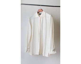 1990s Sheer Silk Button Down Blouse
