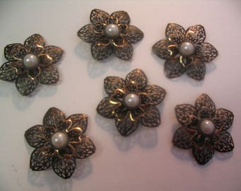 6 Filigree Layered Embellishments Findings Faux Pearl Scrapbook Jewelry Craft Supplies