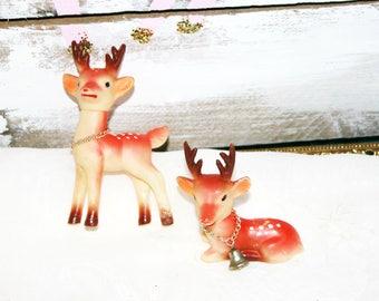 Vintage reindeer lot 2 red orange pink