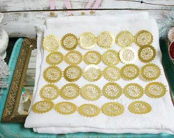 Vintage German DieCut Gold FOIL Dresden FLOWER Paper EMBELLISHMENTS circle flowers