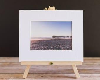 Fine Art Landscape 5x7 Beach Matted Print - Tybee Island Pier