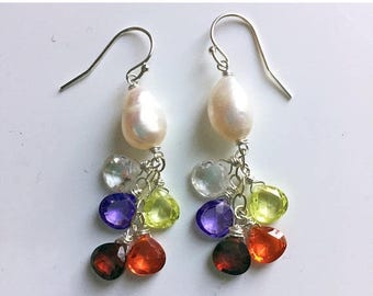 QUICKIE SALE 15% OFF, Baroque Rainbow pearl cluster dangle earrings, Walk this Way Dangles