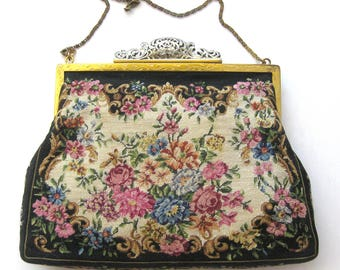Petit Point Evening Bag / Floral Clutch / Filigree Clasp / Fifties Vintage Hand Made Tapestry Purse / Fine Needlework / Made in Austria
