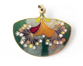 Vintage Cloisonné Pendant with Flowers / Cloisonné Necklace Charm / Pretty Orange and Green Pendant