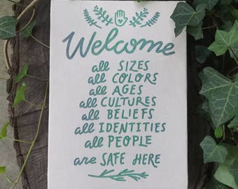 Welcome All Canvas 8 x 11 Canvas Screen Printed Resist Feminist Home Decor Wall Art