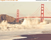 SALE San Francisco photography, Golden Gate Bridge picture, red orange, California art, landscape photograph, West Coast home decor, Myan So
