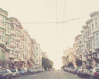 San Francisco print, travel photography, California photo, architecture, streets cape, pale pastels, cottage chic, A Charming Perspective