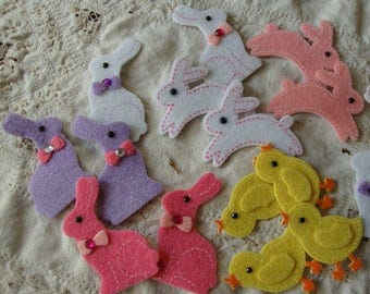 Easter stickers Bunny and chicks felt stickers pink bunnies chicks Spring Scrapbooking embellishments kids crafts stickers supplies