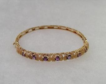 ON SALE Pretty 14K Gold Rope Design Amethyst Bangle Bracelet