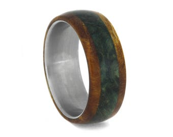Colorful Wood Wedding Band, Men or Women's Titanium Ring Overlaid with Green And Gold Box Elder Burl