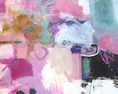 """ABSTRACT PAINTING """"Pretty in Pink"""" Acrylic on 22"""" x 30"""" heavy paper ORIGINAL Art by Elizabeth Chapman"""