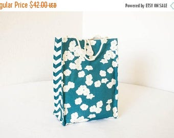 ON SALE Organic Lunch Bag - Teal Blue Poppies - Organic Cotton, Eco Friendly, Fully Insulated - Back to School Waste Free