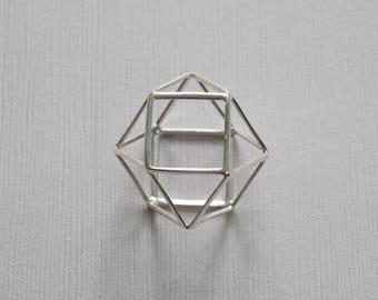 Sterling Silver 3D Geometric Pendant - T2 - P13