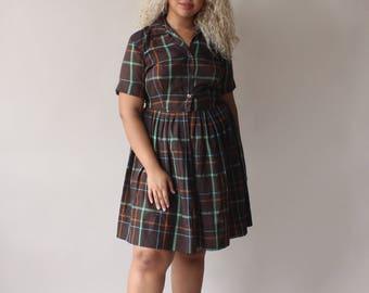 plus size vintage dress | brown plaid shirt dress, size US 14