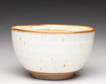 handmade pottery bowl, ceramic serving bowl, stoneware bowl with satin white and shino glazes