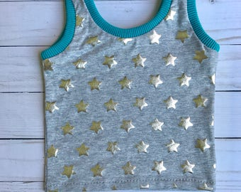 Toddler Baby Tank Top in Silver Star Print