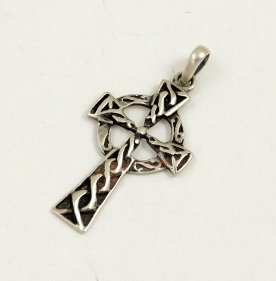 Vintage Celtic Cross Pendant, 925 Sterling Silver